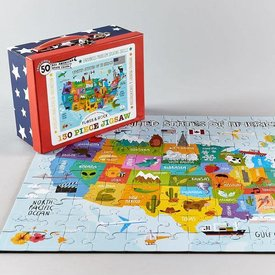 FLOSS AND ROCK FLOSS AND ROCK:   130 PC JIGSAW - USA MAP