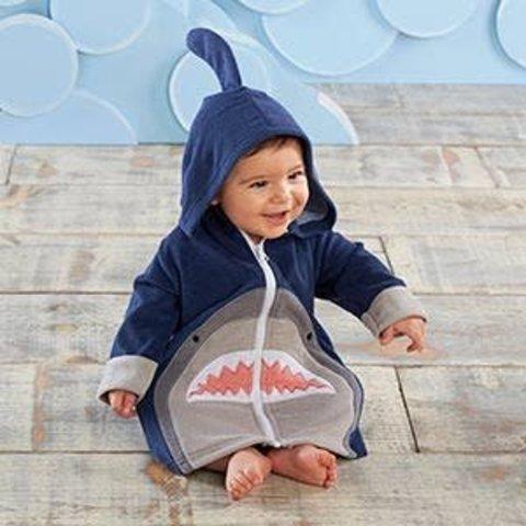 BABY ASPEN:  SHARK HOODED BEACH ZIP UP