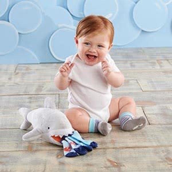 BABY ASPEN BABY ASPEN: SHERMAN THE SHARK PLUSH + BABY SOCKS