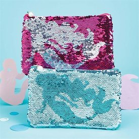 TWO'S COMPANY TWO'S COMPANY:  MERMAID MULTIPURPOSE POUCH (TURQUOISE OR PINK)