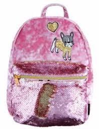 FASHION ANGELS:  Crushed Velvet/MSequinBulldog Mini Backpack-Pink
