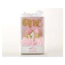 BABY ASPEN BABY ASPEN:  Gold Glitter 1st Birthday Décor Kit
