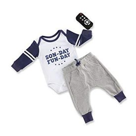 BABY ASPEN BABY ASPEN:  My First Gameday 2-Piece Outfit with Rattle
