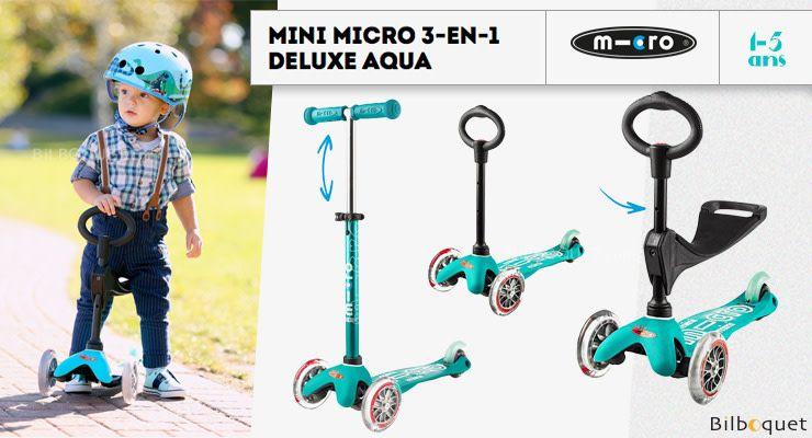 MICRO KICKBOARD:  Micro Mini 3 in 1 DELUXE - AQUA