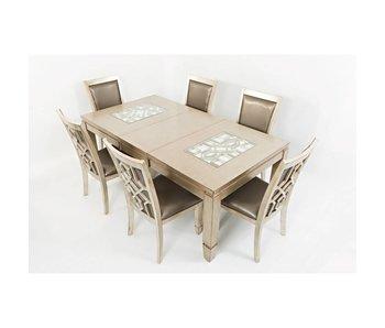 Jofran Casa Bella Table & 6 Chairs (Vintage Silver)