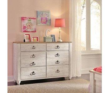 Ashley Furniture Willowton Full Storage Panel Bedroom Set (White Wash)