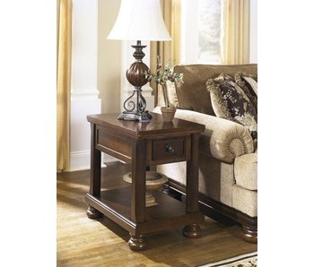 Ashley Furniture Porter Chair Side End Table (Rustic Brown)