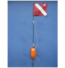 HF027 HI-FLYER. For use in high boating traffic areas. Stands six foot tall for greater visibility. Made with tough closed cell orange PVC 5x11 buoy, and a 3lb weight, a 14x16 vinyl flag, harness, 3pc breakdown design and flag tie down.