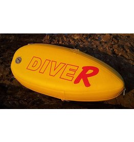 DiveR Hi pressure &quot; Dog Stopper &quot; floats . Unique inflatable technology from DiveR. Super heavy duty construction. Comes with 5 large stainless D rings . Valve adaptor assembly . True HI VIS and undoubtably the most visible float on the market. <br />