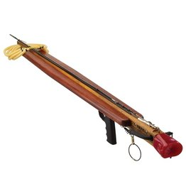 Riffe Heavy-duty 4 laminate teak stock, enclosed track, full body Padauk Wings with lead, rigged for breakaway, 500lb. coated rigging, and Riffe ice pick slip tip.