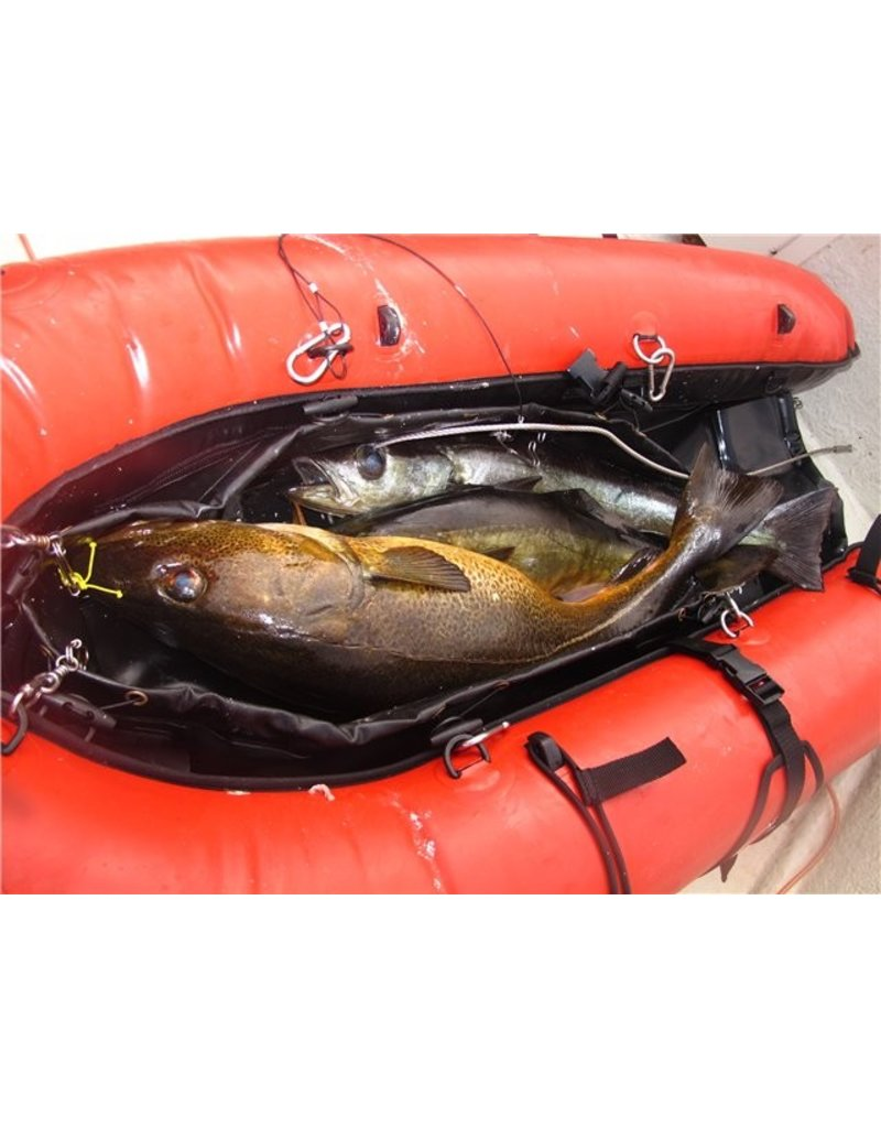 The Beuchat Guardian float includes safety features such as a 1.2 metre flag with a high visibility color and 22 attachment points., , The Beuchat guardian float can hold up to four spearguns and is also fitted with an inflatable swim cushion and a detach