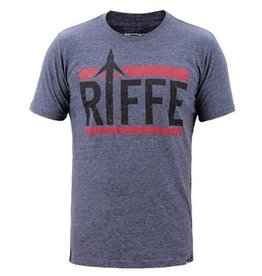 Riffe Super soft 35% Cotton 65% Poly Tee. Slimmer Fit. Pre-shrunk, , 40 singles. Printed inner neck label., , Each Riffe Tee has a woven clip label at front left hip, printed inner neck label, and red Riffe wave logo at center back neck area.
