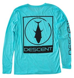 Descent Descent Icon Long Sleeve Triblend Tee in Tahiti Blue