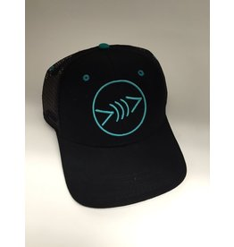 Florida Freedivers Florida Freedivers Lucky Flat Hat, Black/Teal