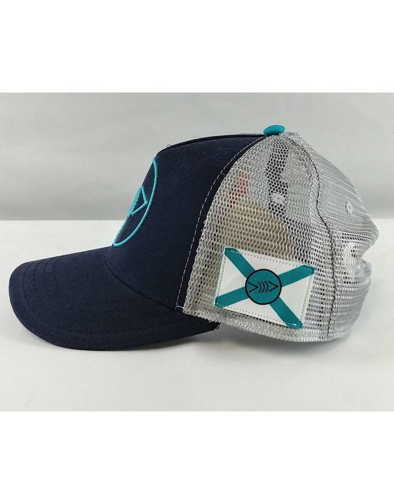 Florida Freedivers Florida Freedivers Lucky FLorida Curve Hat, Navy Turquoise Logo
