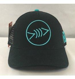 Florida Freedivers Florida Freedivers Lucky FLorida Curve Hat, Black Turquoise Logo