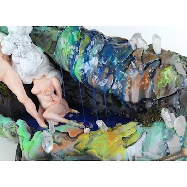 "Ashley Maxwell, Girl Across the Street, ceramic, plaster, foam, rebar, crystals, paint, plastic, 15"" x 41"" x 17"""