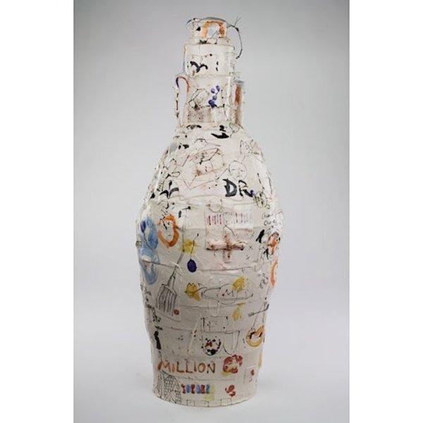 "Ted Saupe, Tall Lidded Jar, handbuilt porcelain, 28 x 11.5"" dia"