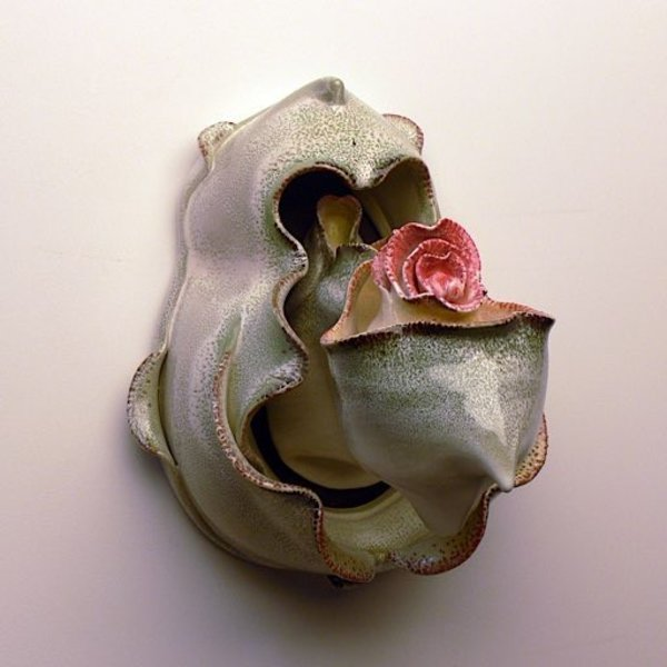 "Martha Grover, Perfume Bottle (wall mounted), thrown & altered porcelain, 15"" x 10"" x 14"""