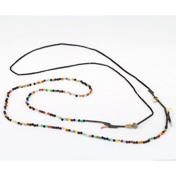 Gabrielle Gould Gabrielle Gould, Double Strand Necklace, agate, onyx, feathers, shell