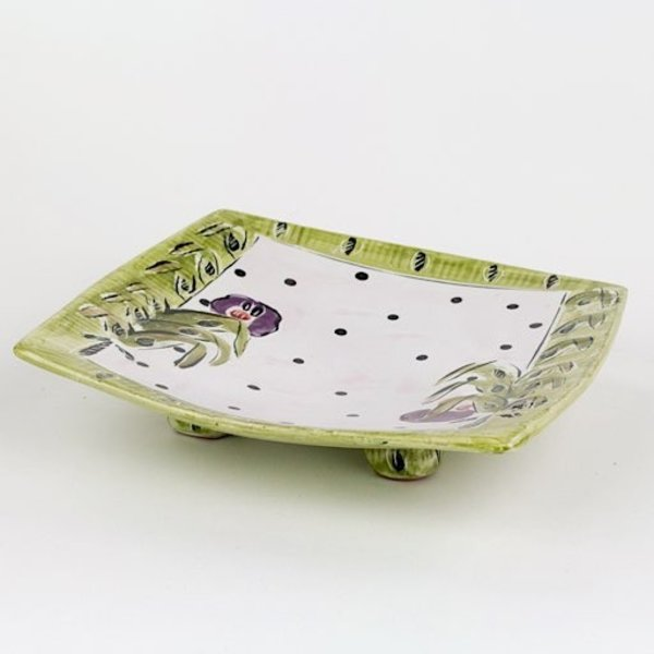 Posey Bacopoulos Posey Bacopoulos, Rectangular Scaolloped Dish, majolica, 2. x 8.5 x 8.5""