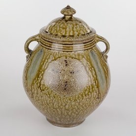"""Mark Hewitt Mark Hewitt, Alkaline Glazed Jar with  Blue Glass Runs, 13 x 9"""" dia"""