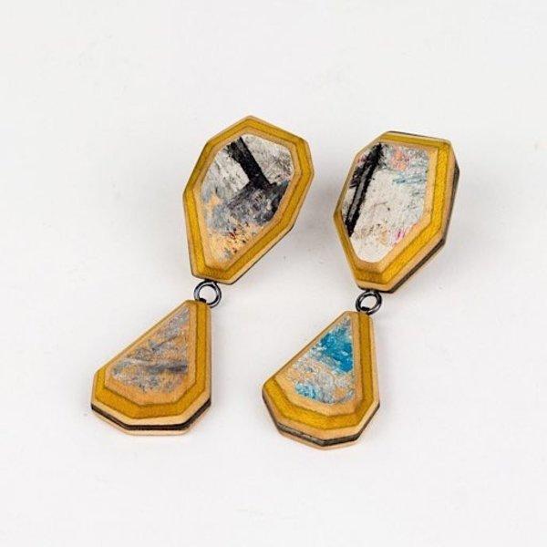 """Tara Locklear Tara Locklear, Gem Dangle Earring, broken skateboards, laser cut maple wood, sterling silver, pigment, 2.5 x .75 x .25"""""""