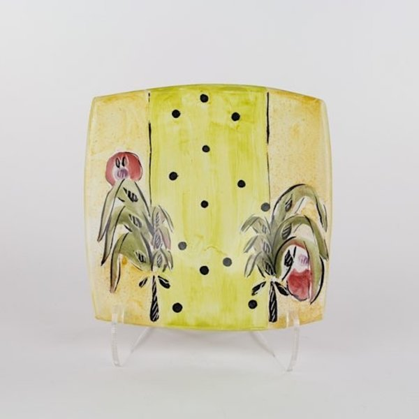 "Posey Bacopoulos Posey Bacopoulos, Square Plate, majolica, 1.25""x7.25""x7.25"""