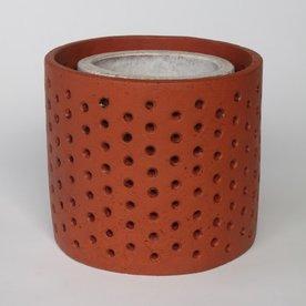 "Joe Pintz SOLD Joe Pintz, Perforated Drum & Cylinder, handbuilt earthenware, 9 x 9 x 8"""