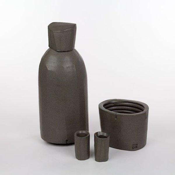 Shadow May, Whiskey for 2, stacked bottle, handbuilt stoneware, glaze, 5.5 x 4 x 14, 6x4.75x4.5