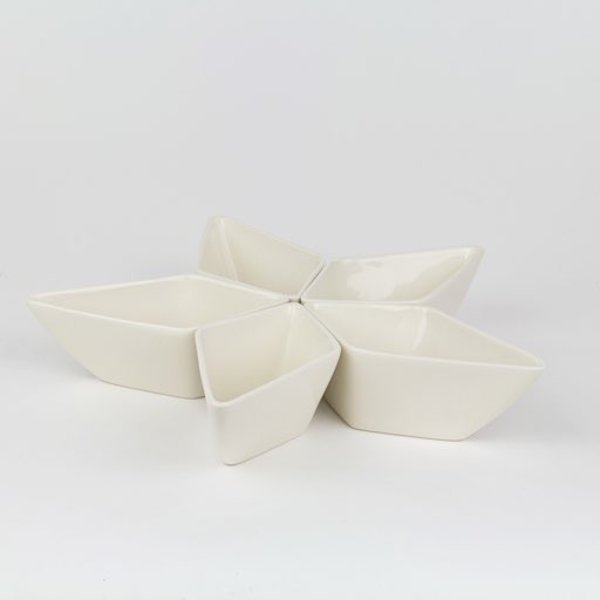 Rachel Garceau, Star Server(5 parts),  Porcelain, glaze, 11 x 11""
