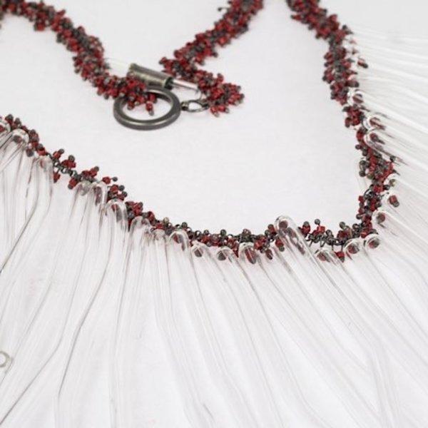 Karen Gilbert, Glass Tube Necklace, blown pyrex glass, glass beads, sterling silver
