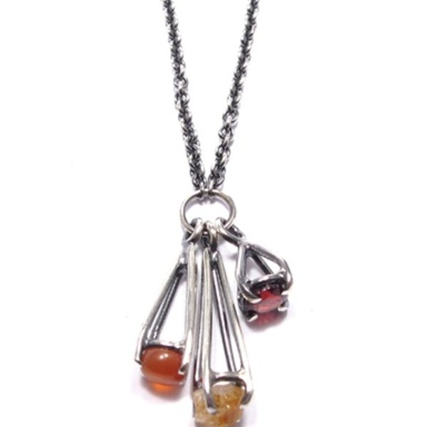 Joanna Gollberg, Little 3 Prong Dangle Necklace, Citrine, Garnet, Carnelian, Sterling Silver