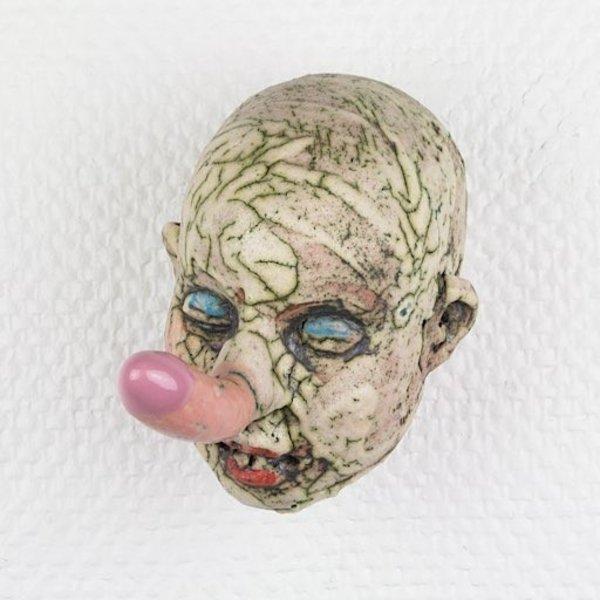 """Tom Bartel, Fertility Head 2, clay, glaze, 7 x 7.5 x 4.5"""""""