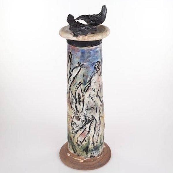"Ron Meyers Ron Meyers, Vase w/Rabbits, earthenware, 22 1/4""h x 7 3/4""w"