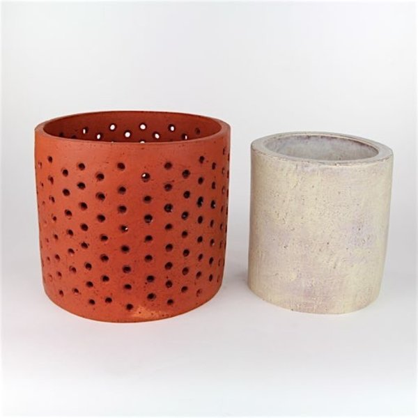 Joe Pintz SOLD Joe Pintz, Perforated Drum & Cylinder, handbuilt earthenware, 9 x 9 x 8""