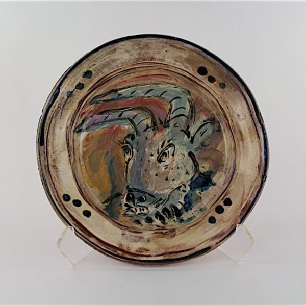"Ron Meyers Ron Meyers, Goat Bowl, earthenware, 2.5 x 12.75"" dia"