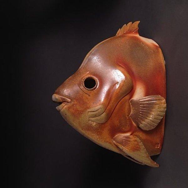"Marvin Bjurlin, Atlantic Spadefish, anagama fired, 17 x 13 x 6.5"""