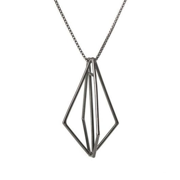 Sarah Loertscher, Structure pendant, oxidized sterling silver