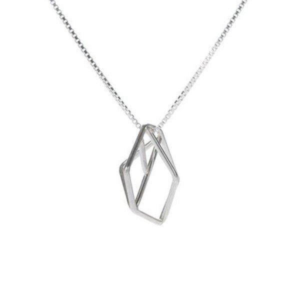 Sarah Loertscher, Small Structure Pendant, matte sterling silver