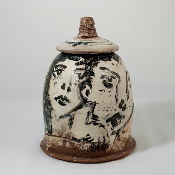 Ron Meyers, Lidded Jar, faces, 12.75 x 9