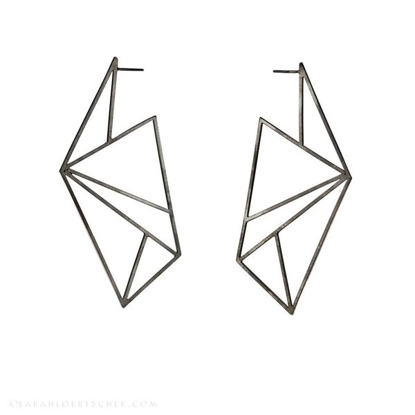Sarah Loertscher, Planar Earrings, matte sterling silver