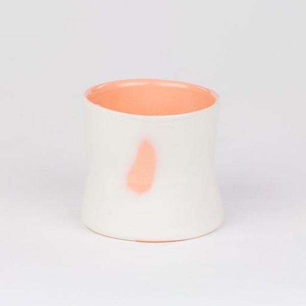"Rachel Garceau, Small Curvy Cup,  Porcelain, glaze, 2.5 x 2.75"" dia"