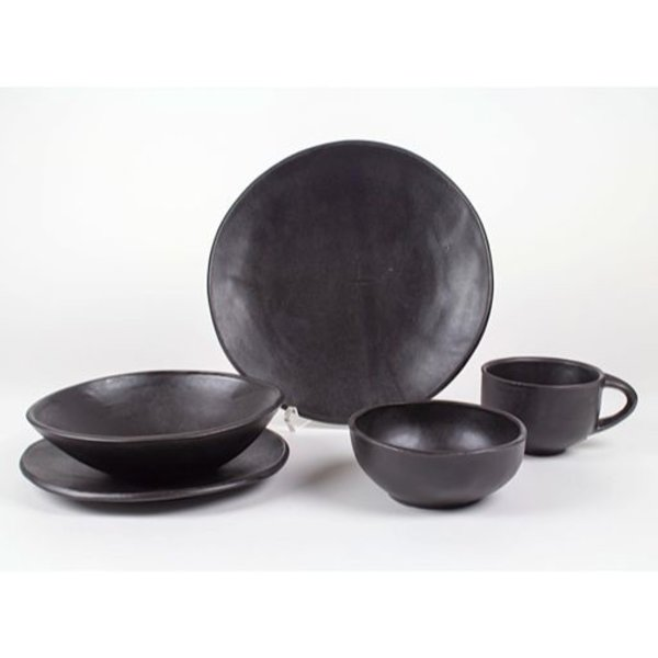 "Jerilyn Virden, Place Setting, black, handbuilt earthenware, dinner plate 11.5"" diameter"