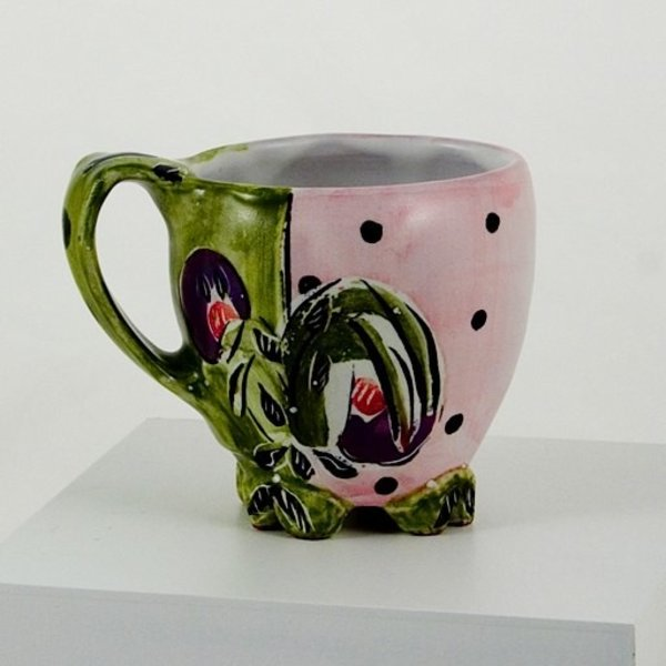 Posey Bacopoulos Posey Bacopoulos, Cup, majolica, 4.25x5.25x3.25""