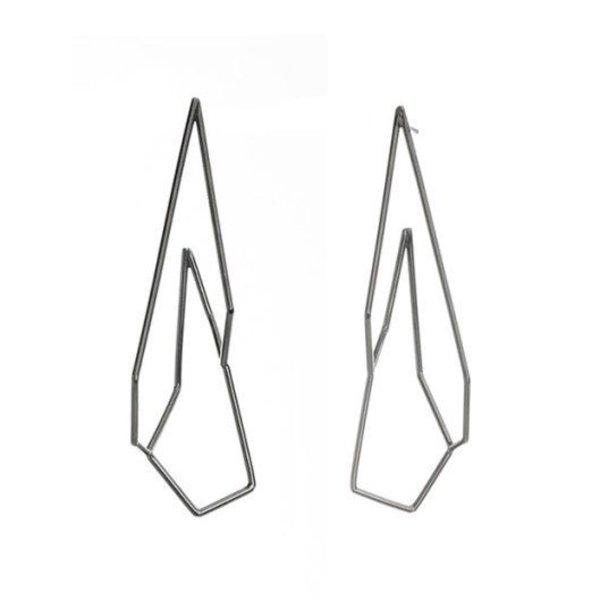 Sarah Loertscher, Medium Structure Hoops, oxidized sterling silver