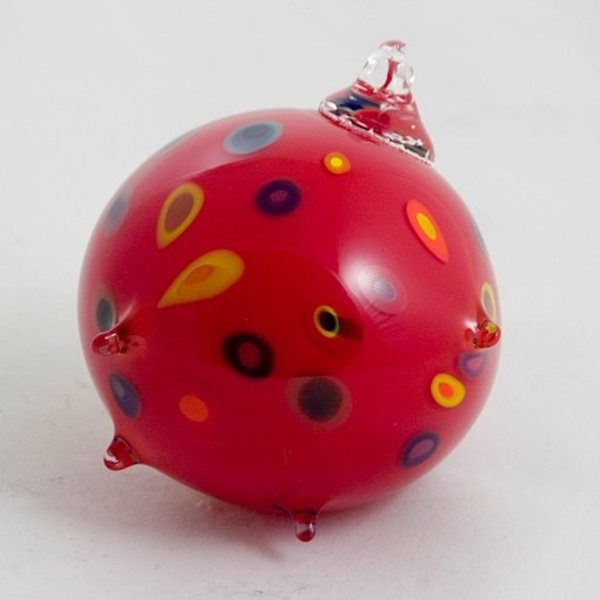 David & Jennifer Clancy, Space Junk Superfruit, hand blown glass ornament (red)