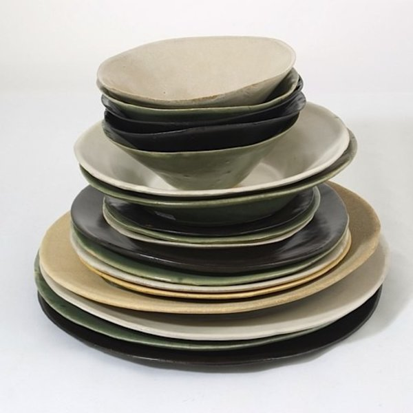 "Joan Platt, Green Dessert Bowl, stoneware, glaze, 6"" dia,Care: dishwasher, microwave safe"