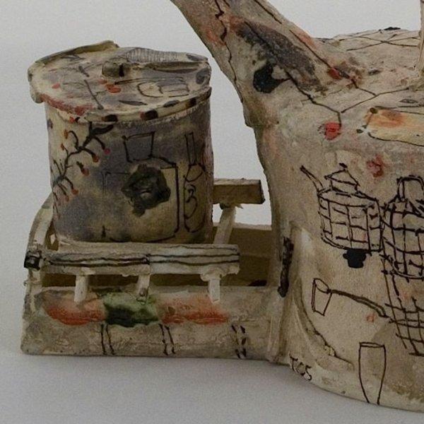 "Ted Saupe, Tea Server, ceramic 13x6.5x9"""