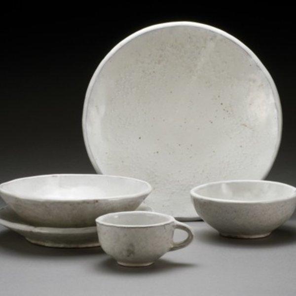 """Jerilyn Virden Jerilyn Virden, Place Setting, white, handbuilt earthenware, dinner plate 11.5"""" diameter"""